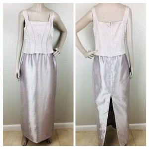 Vintage Cachet Metallic Silver Long Formal Dress